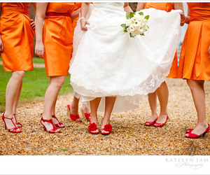 bride, wedding dress, and bridesmaids image