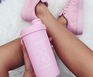 pink, tumbler, and sneakers image