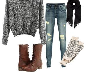 boots, sweater, and winter image