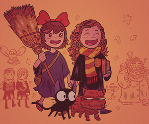 hermione granger, kiki's delivery service, and garry potter image