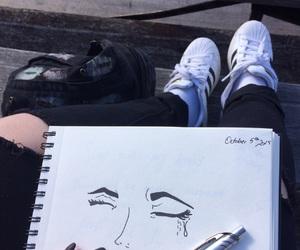drawing, adidas, and black image