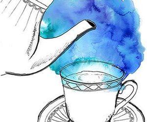 tea, art, and blue image
