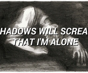 alone, b & w, and quotes image
