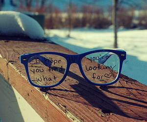 glasses, quotes, and blue image