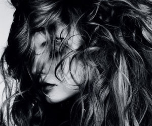 hair, black and white, and Magdalena Frackowiak image