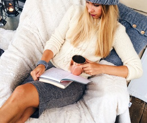 autumn, blonde, and books image
