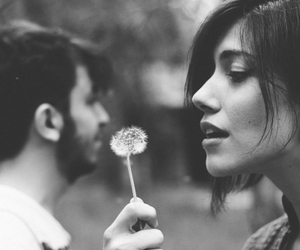 black and white, dandelion, and girl image