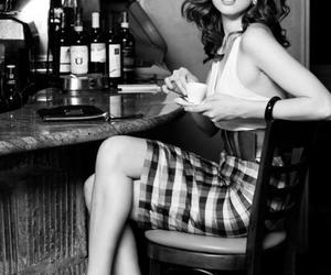 black and white, coffee, and model image