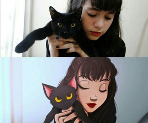 black, cats, and draw image