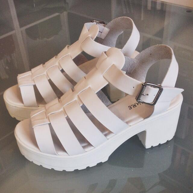 9213609f3cbd Our white block heel sandals on We Heart It