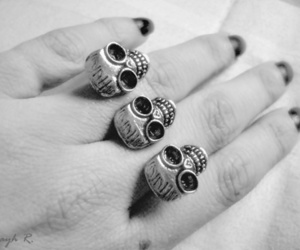 b&w, black nails, and fingers image
