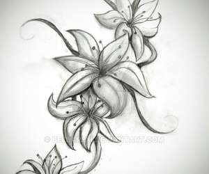 flower, lily, and tattoo image