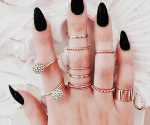 black, nails, and white image