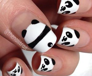 nails, panda, and black and white image