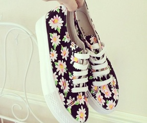 shoes, flowers, and vans image