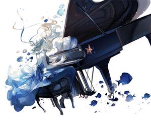 anime girl, music, and piano image