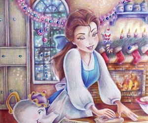 belle, disney, and christmas image