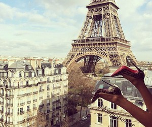 paris, heels, and eiffel tower image