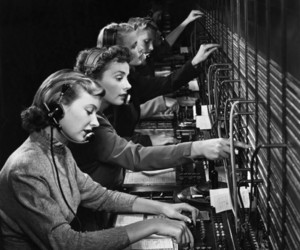 1950, girls, and switchboard image