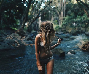 bikini, girl, and river image