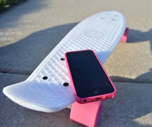 iphone, pink, and skateboard image