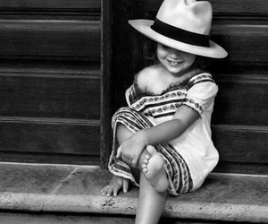 child, black and white, and smile image