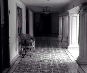 black and white, shadow, and hall image
