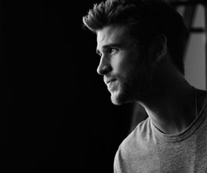 beauty, liam hemsworth, and black and white image