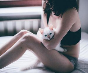 cat, girl, and skin image