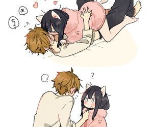 anime, cat, and kiss image