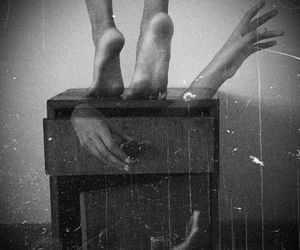black and white, creepy, and feet image