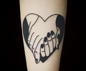 black, hands, and tattoo image