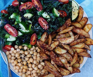 fries, salad, and vegetables image