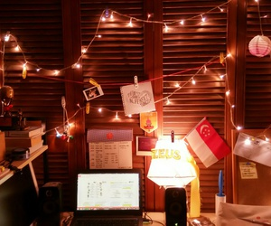 desk, tumblr, and fairy lights image