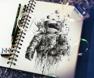 art, astronaut, and drawing image