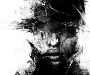 art, black and white, and painting image