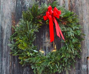 christmas, snow, and wreath image