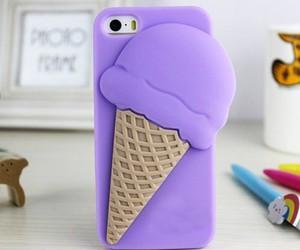 ice cream, purple, and iphone image