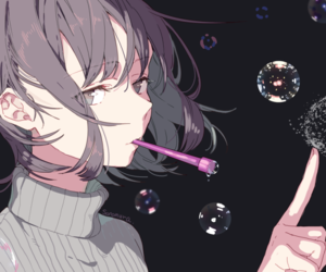 anime girl, art, and bubbles image