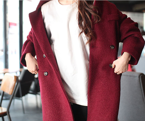 autumn, coat, and red image