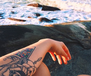 tattoo, beach, and sea image