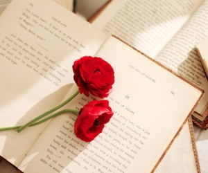 book, flowers, and red image