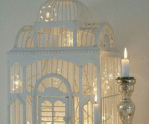 light, birdcage, and candle image