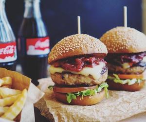 food, burger, and coca cola image