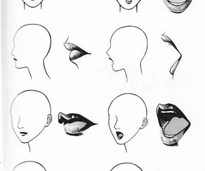 draw, lips, and drawing image