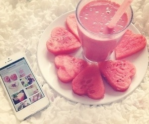heart, smoothie, and watermelon image