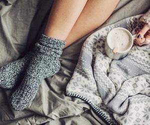 winter, socks, and coffee image