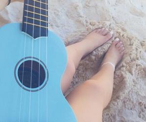 beach, mexico, and ukulele image