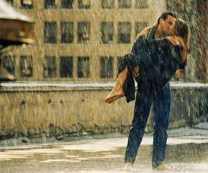 kiss, love, and rain image