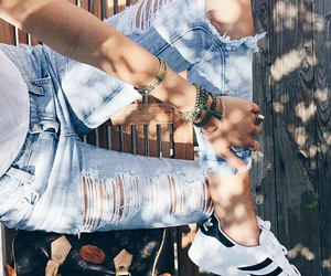 blue, Fashion girls, and jeans image